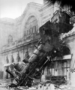This 1895 wreck occurred when a conductor, making up for lost time and possibly speeding, entered the station too fast.